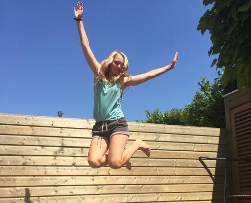 samen trainen op fitness trampoline flexbounce